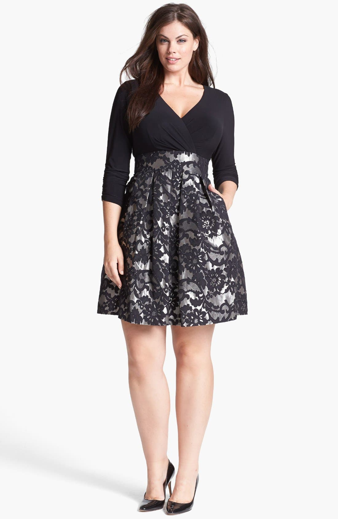 Main Image - Eliza J Jacquard Skirt Dress (Plus Size)