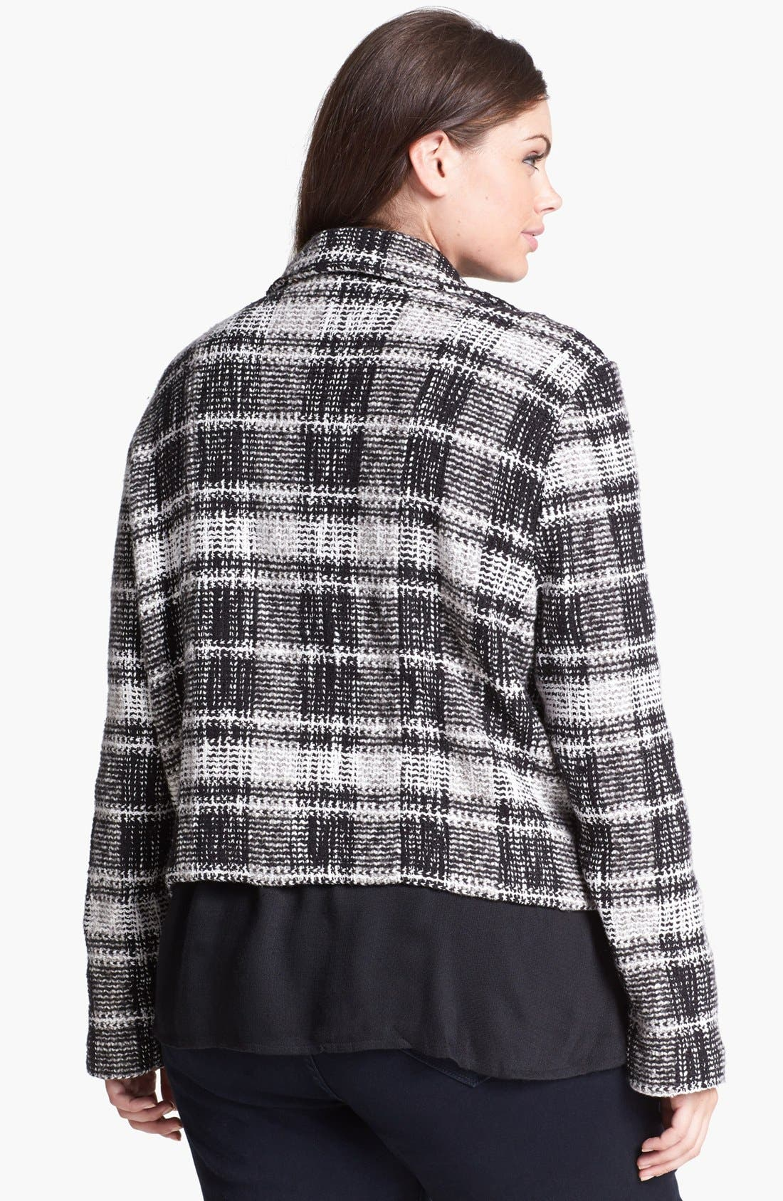 Alternate Image 2  - Lucky Brand Plaid Moto Sweater Jacket (Plus Size)