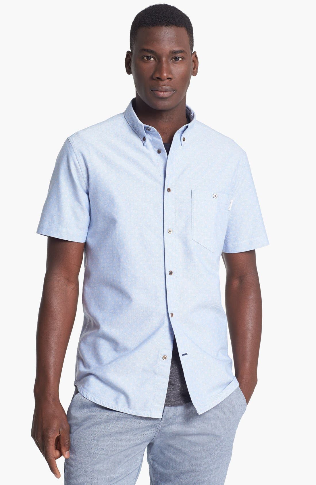 Alternate Image 1 Selected - Paul Smith Jeans Tailored Fit Short Sleeve Dot Print Short