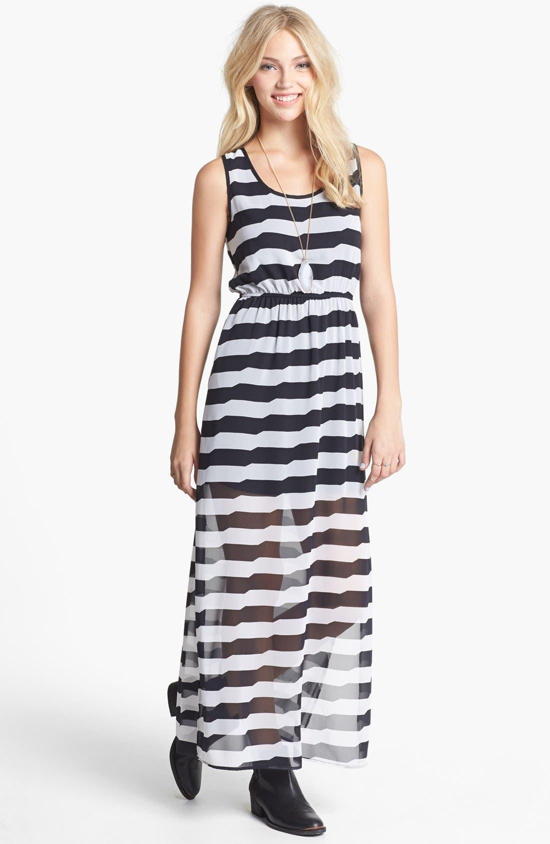 Main Image - dee elle Racerback Print Maxi Dress (Juniors)