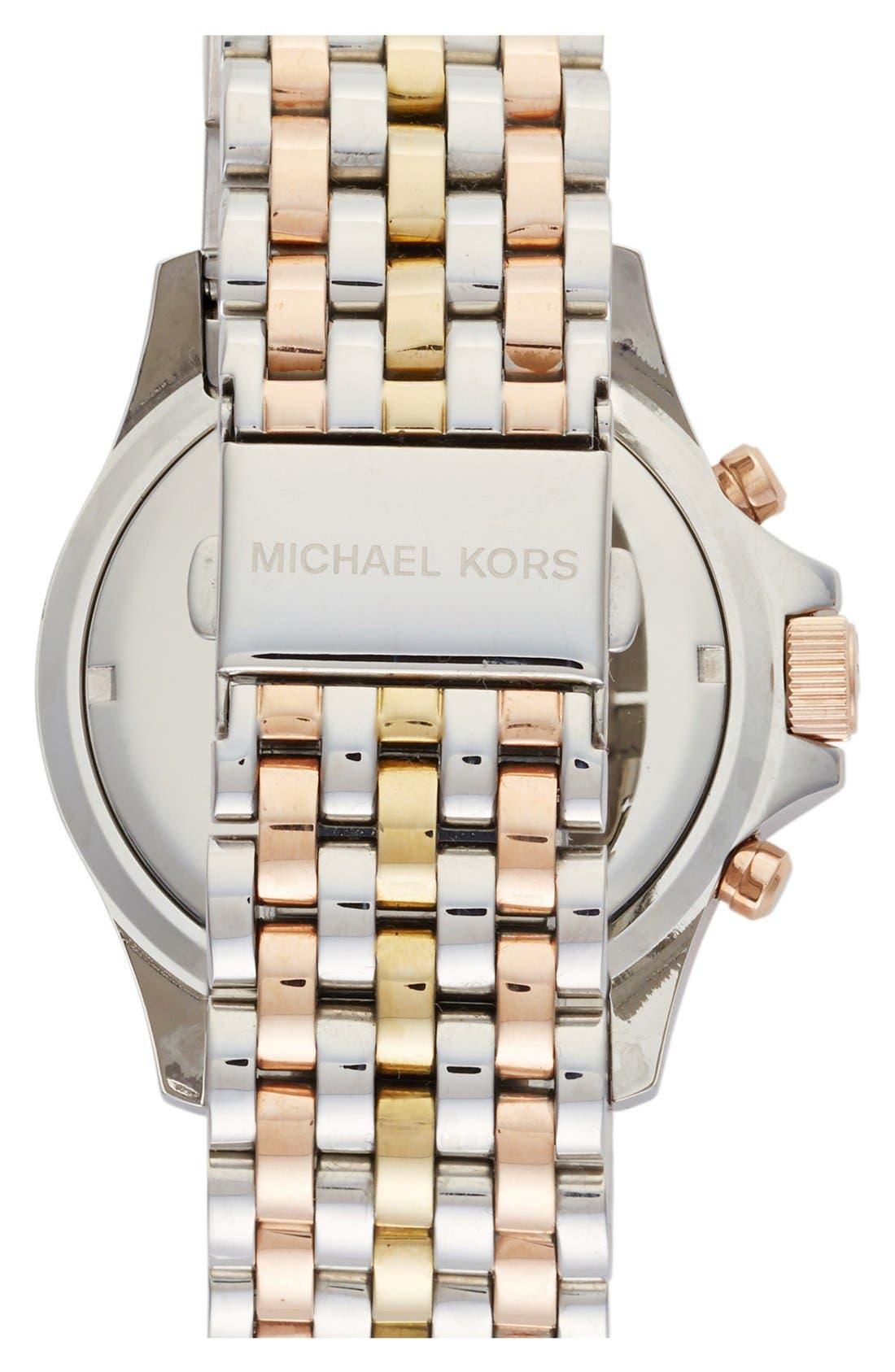 Alternate Image 2  - Michael Kors 'Everest' Crystal Bezel Tri Tone Bracelet Watch, 42mm