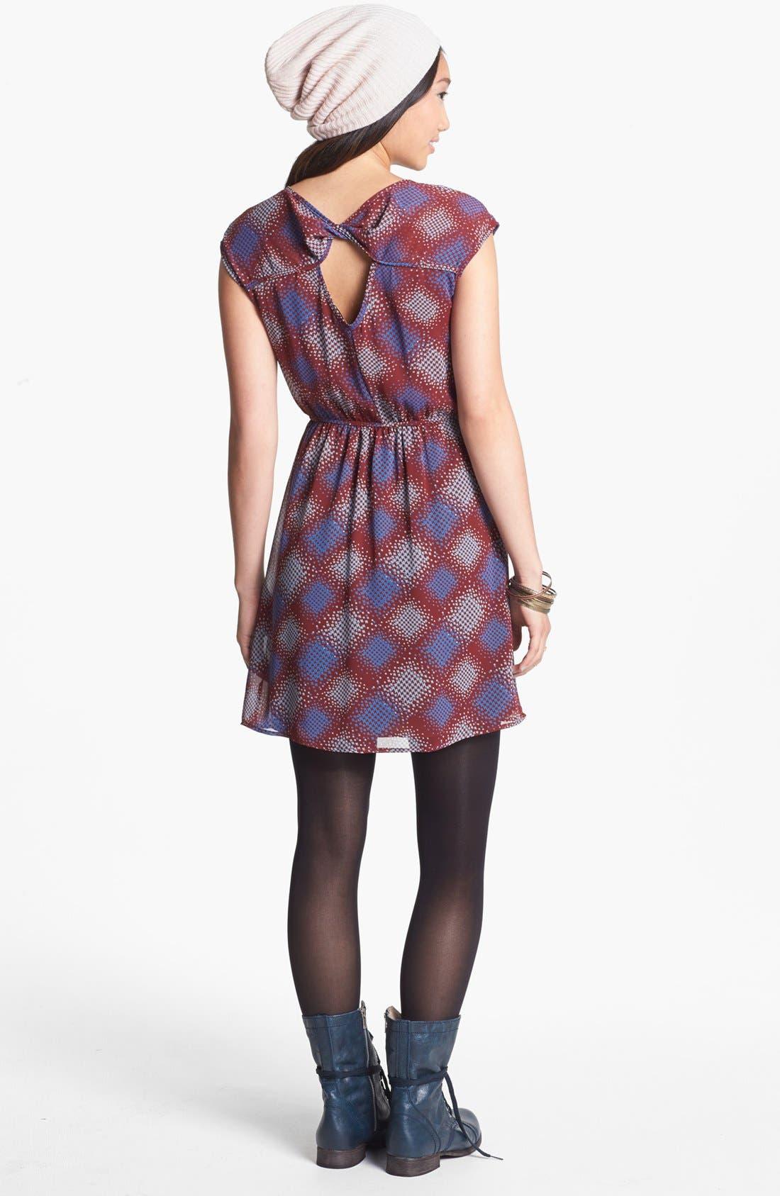 Alternate Image 2  - dee elle Twist Back Cutout Skater Dress (Juniors)