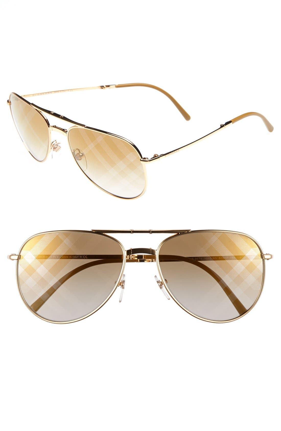 Main Image - Burberry 57mm Aviator Sunglasses