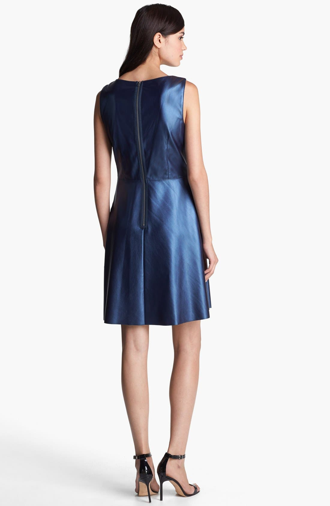 Alternate Image 2  - Ivy & Blu Faux Leather Fit & Flare Dress