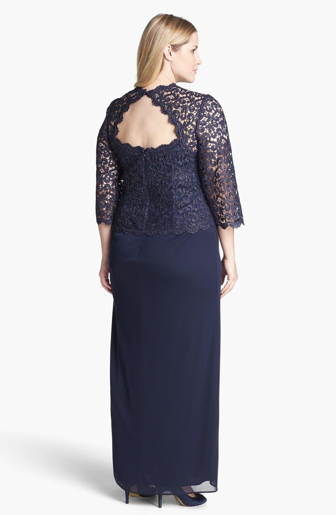 Alternate Image 2  - Alex Evenings Metallic Lace & Mesh Gown (Plus Size)