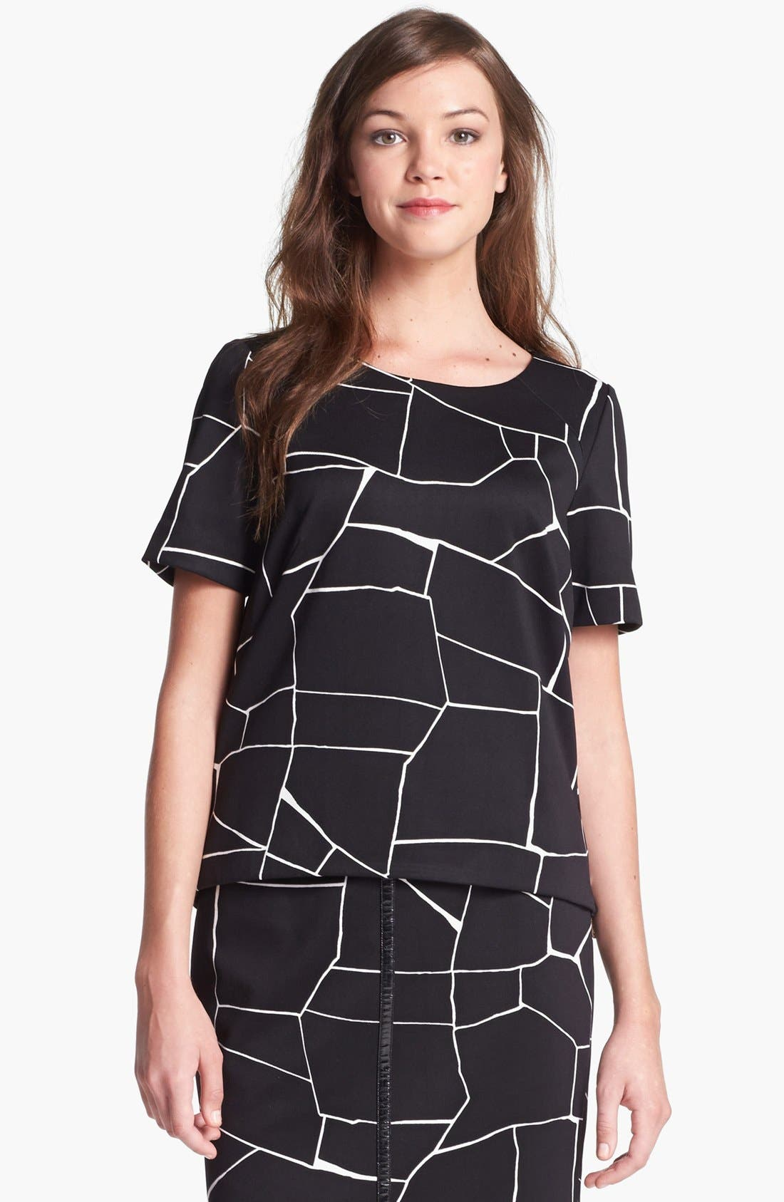 Alternate Image 2  - Vince Camuto Short Sleeve Print Blouse