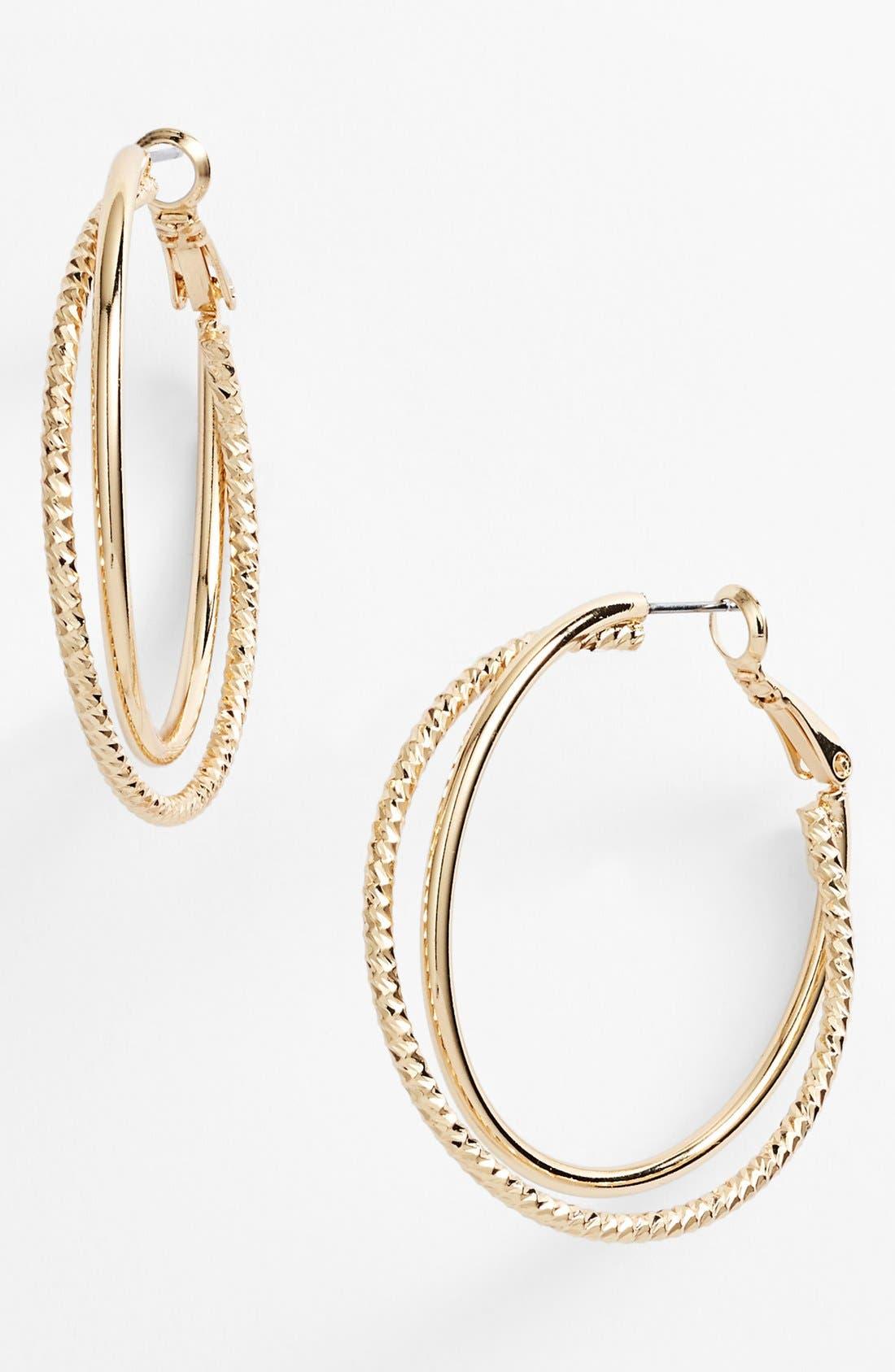 Alternate Image 1 Selected - Nordstrom Textured Hoop Earrings