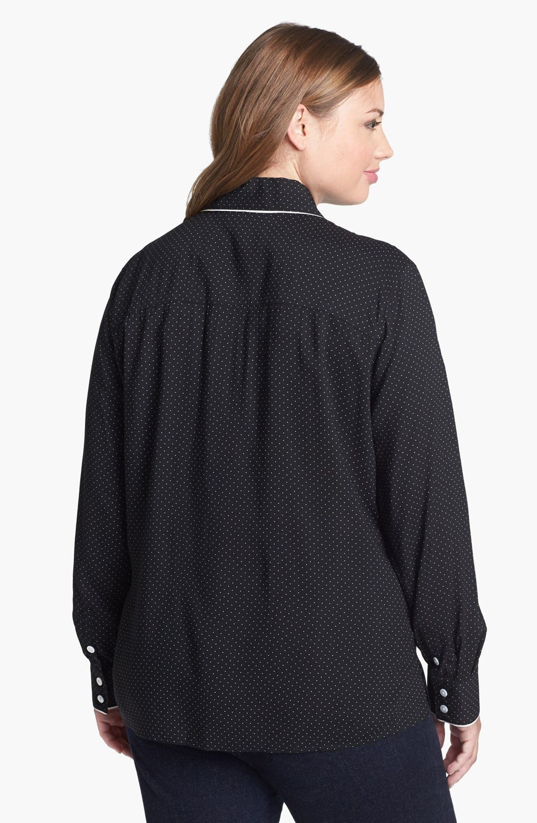 Alternate Image 2  - Foxcroft Pin Dot Shaped Shirt (Plus Size)
