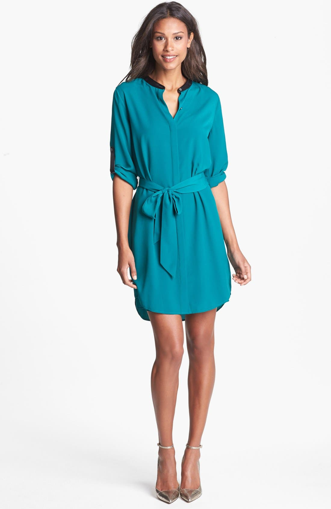 Alternate Image 1 Selected - DKNYC Faux Leather Trim Roll Sleeve Shirtdress