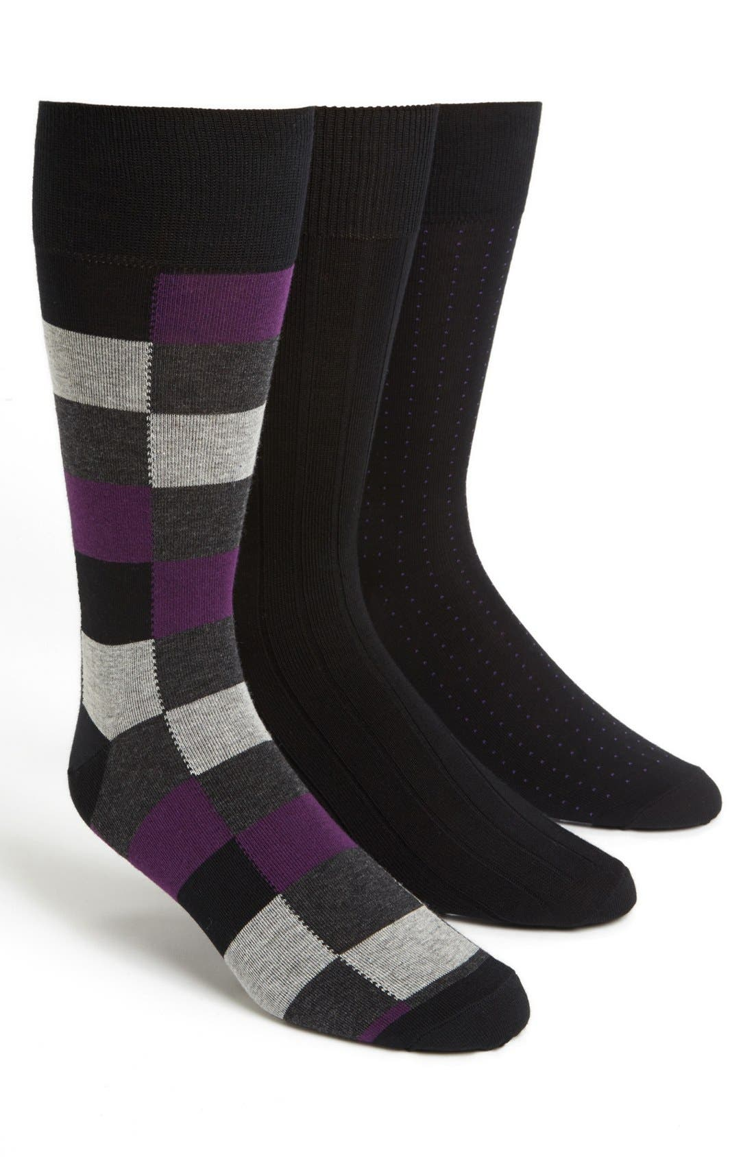 Alternate Image 1 Selected - Cole Haan Pima Cotton Blend Socks (Assorted 3-Pack)