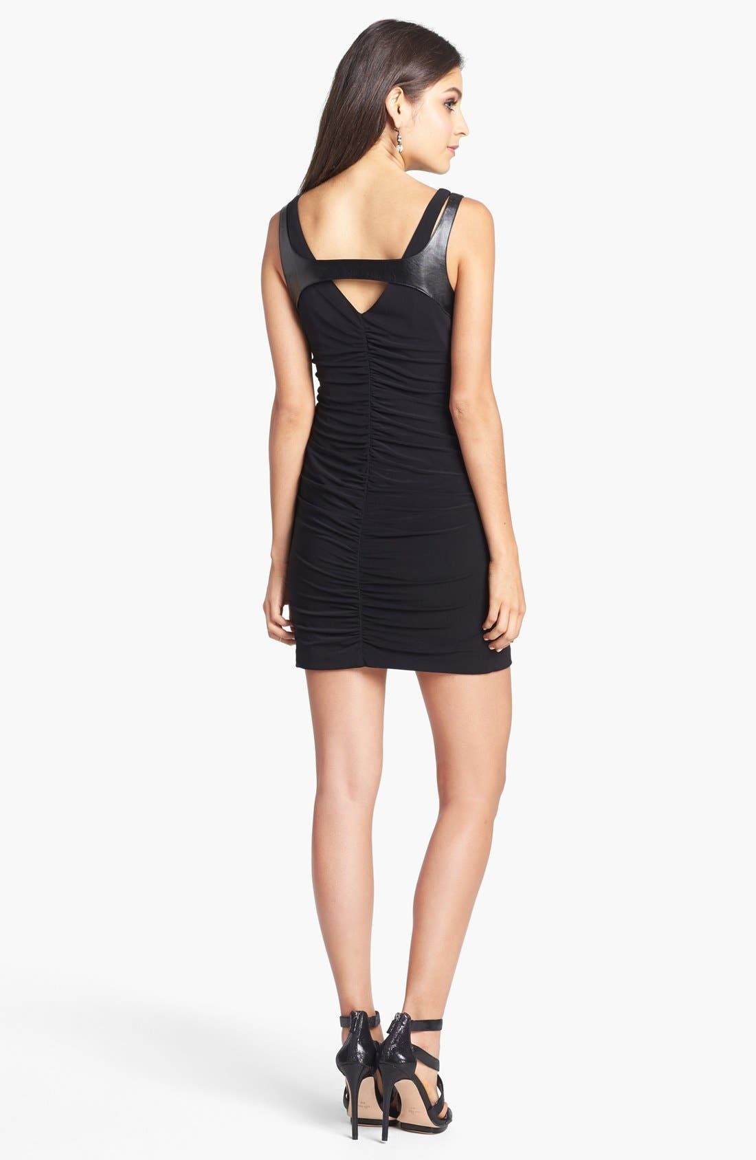 Alternate Image 2  - Hailey Logan Faux Leather Detail Ruched Dress (Juniors) (Online Only)