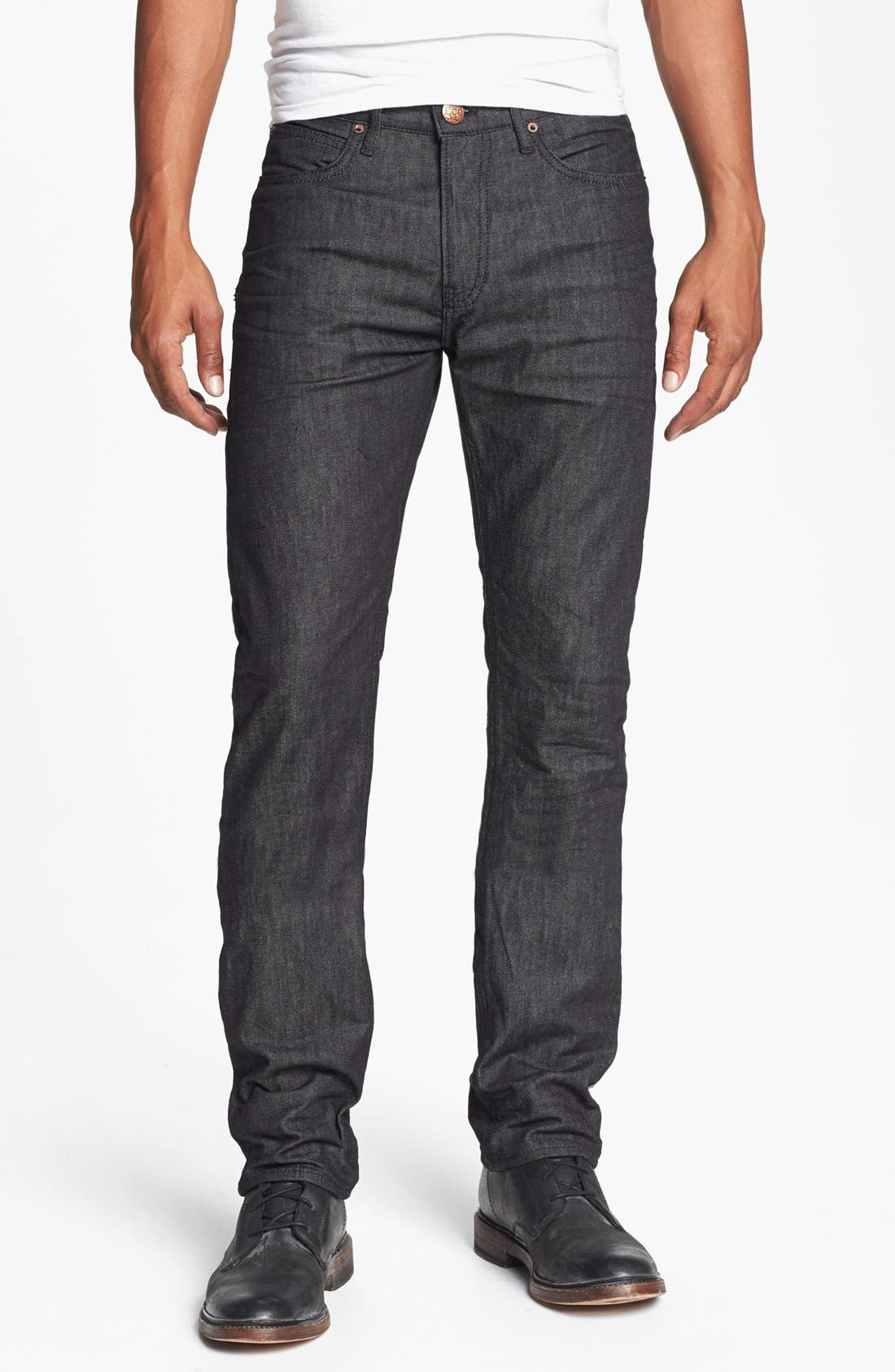 Main Image - Lee 101 USA 'Lean' Straight Leg Jeans (Black Wet)