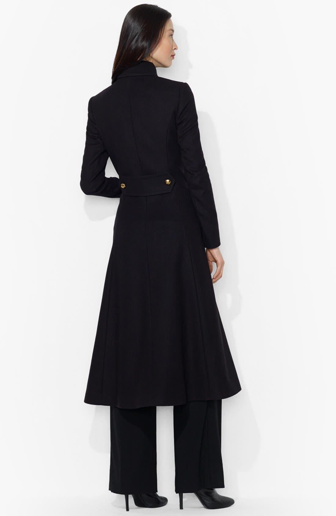 Alternate Image 2  - Lauren Ralph Lauren Military Wool Blend Long Coat