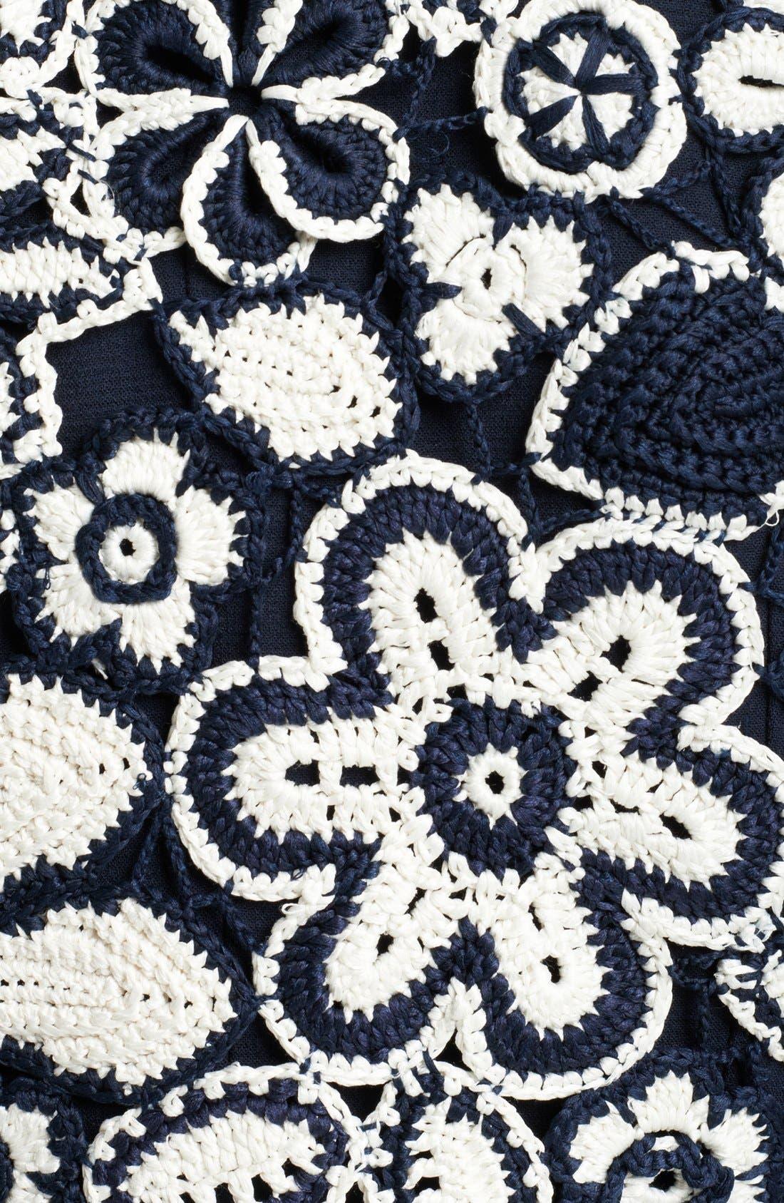 Alternate Image 3  - Oscar de la Renta Floral Crochet Knit Silk Bolero