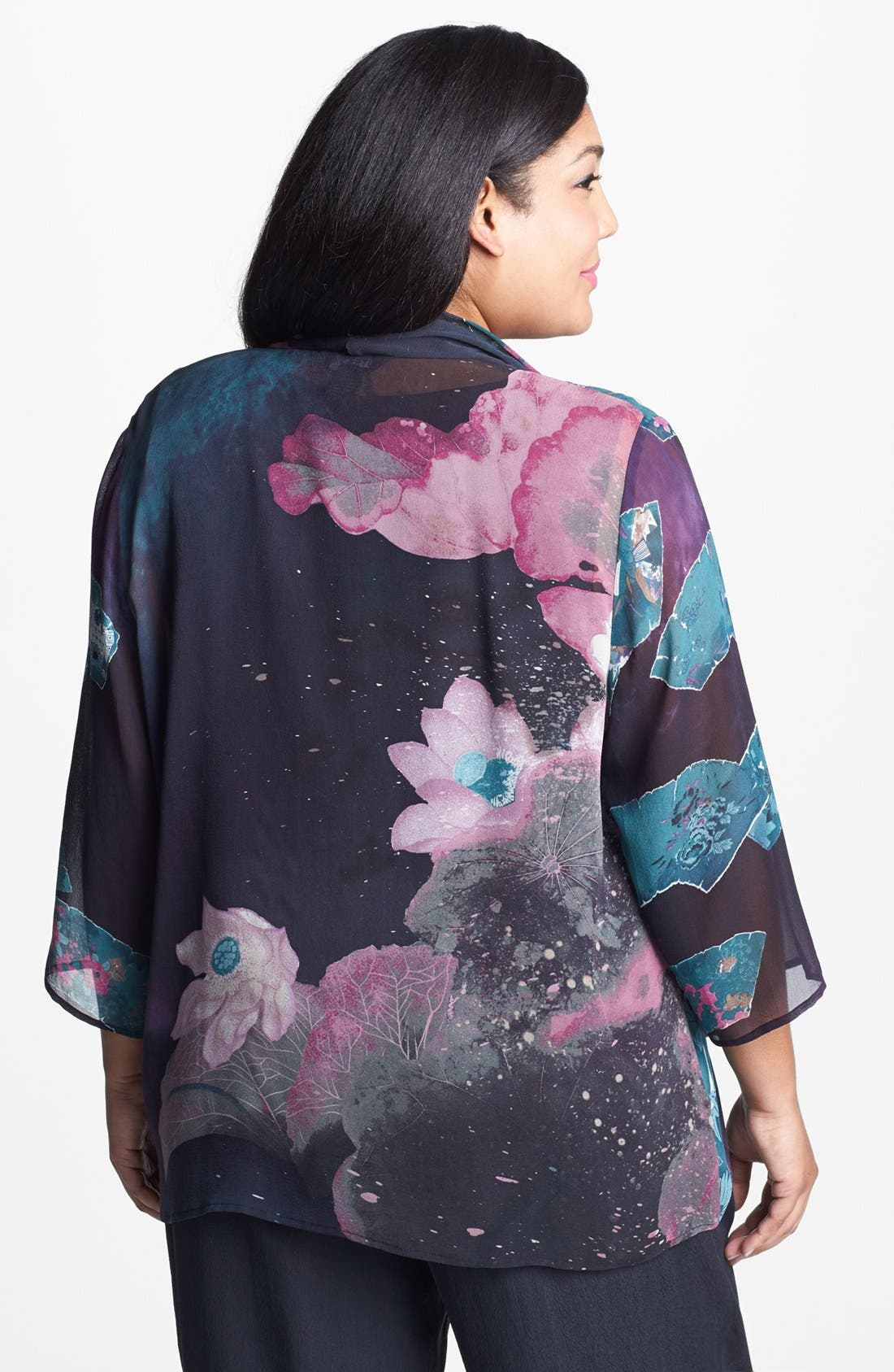 Alternate Image 2  - Citron Print Drape Front Silk Jacket (Plus Size)