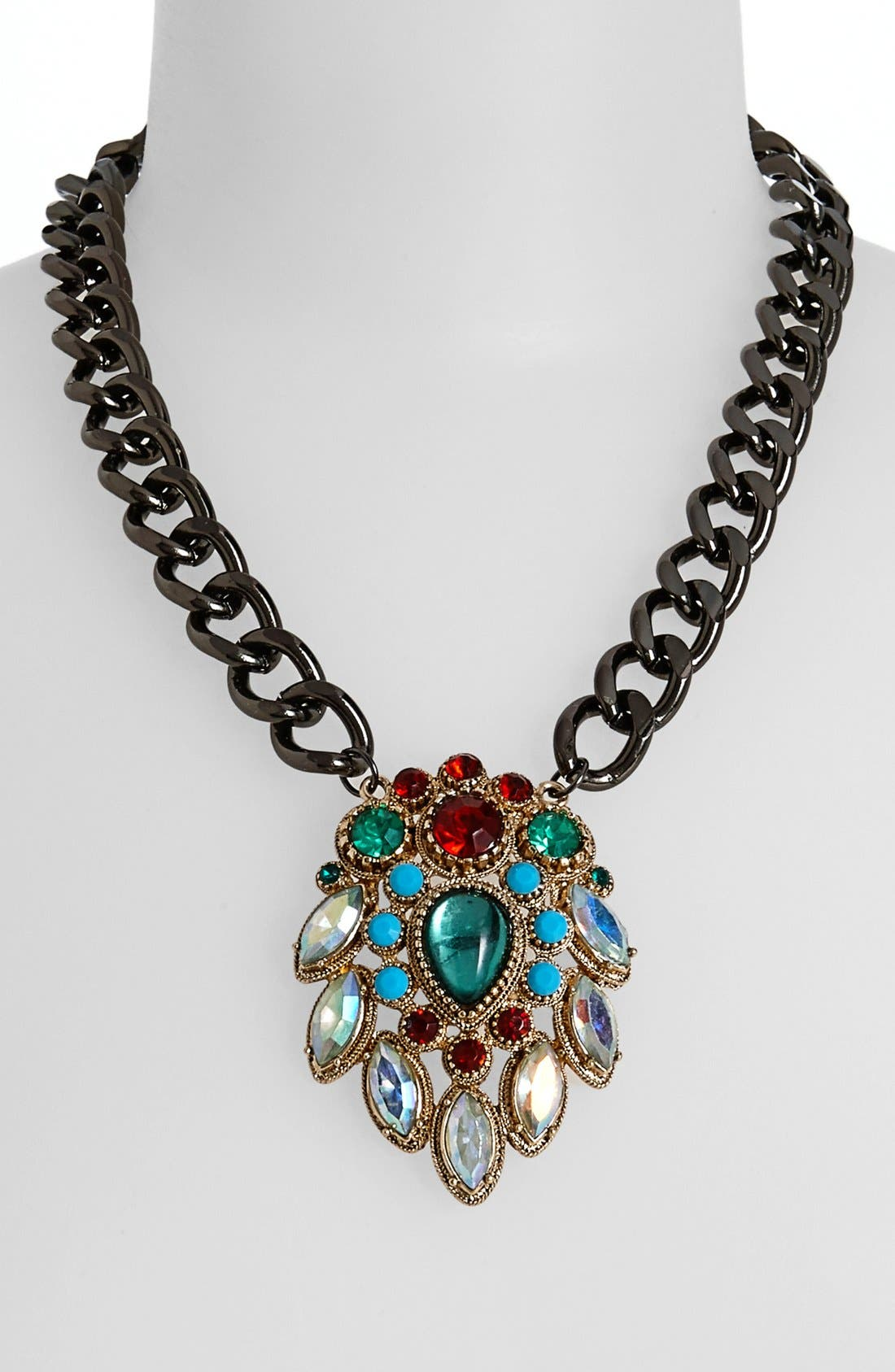 Alternate Image 1 Selected - Topshop Multi Stone Pendant Chain Necklace