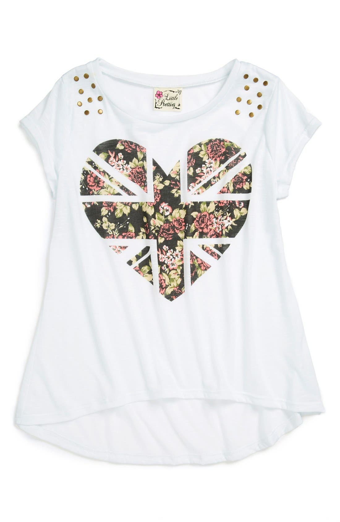 Main Image - Little Pretties High/Low Graphic Tee (Little Girls & Big Girls)