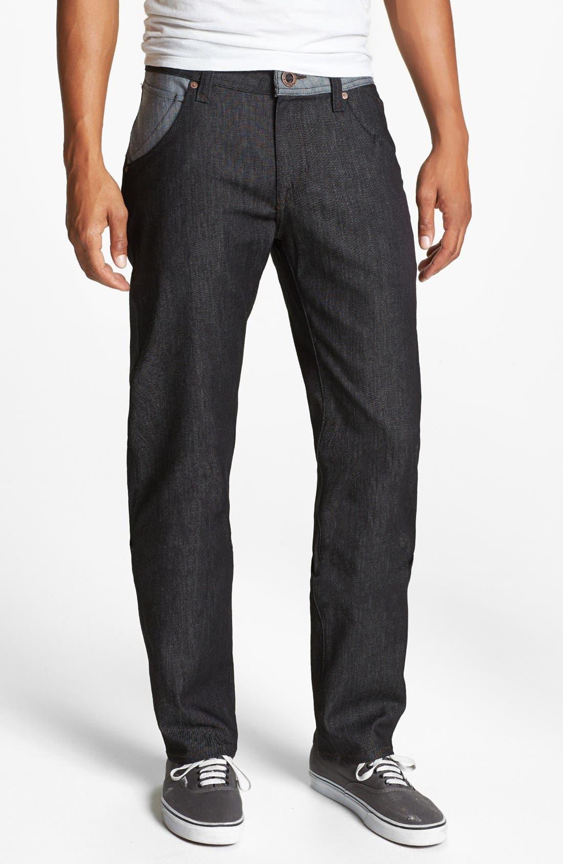 Alternate Image 2  - Volcom 'Nova' Straight Leg Jeans (Dark Black Rinse)