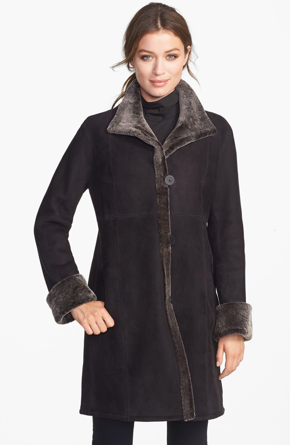 Alternate Image 1 Selected - Blue Duck Stand Collar Genuine Merino Shearling Coat