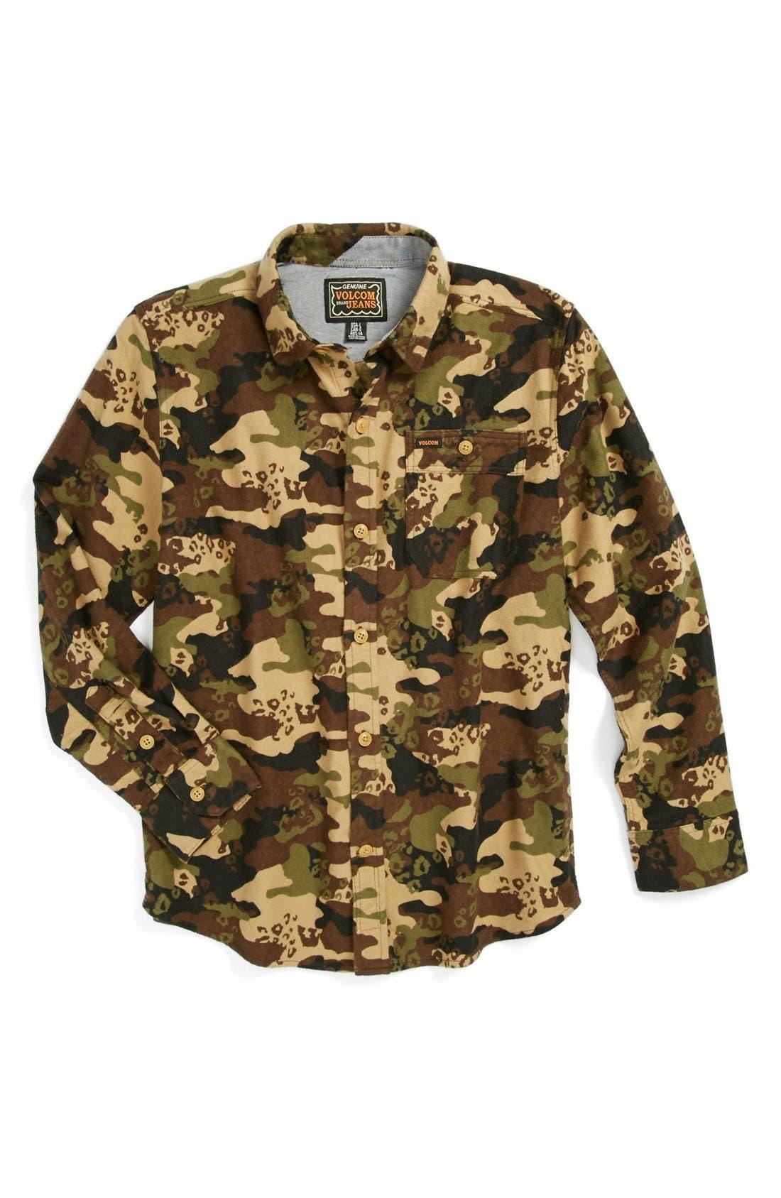 Alternate Image 1 Selected - Volcom 'Harry' Camo Shirt (Big Boys)