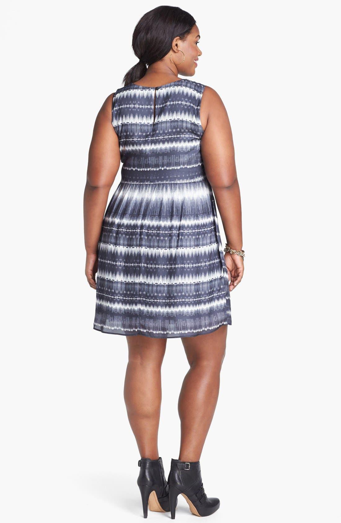 Alternate Image 2  - BB Dakota 'Electricity' Print Crepe Fit & Flare Dress (Plus Size)