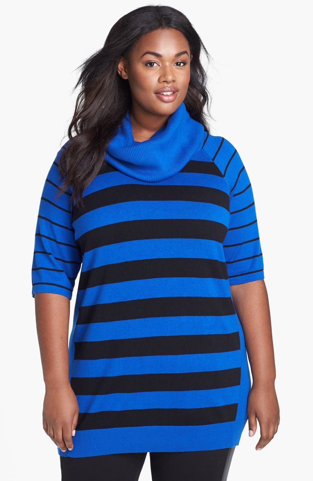 Alternate Image 1 Selected - Vince Camuto Stripe Cowl Neck Sweater (Plus Size)