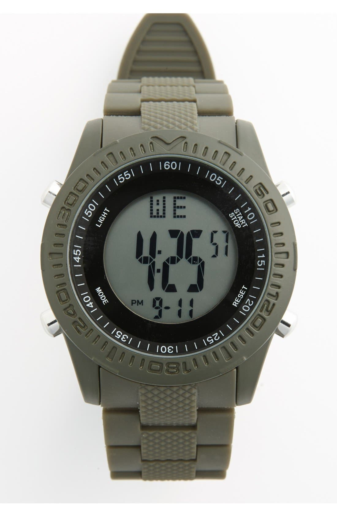 Alternate Image 1 Selected - ACCUTIME Round Dial Digital Plastic Strap Watch, 45mm