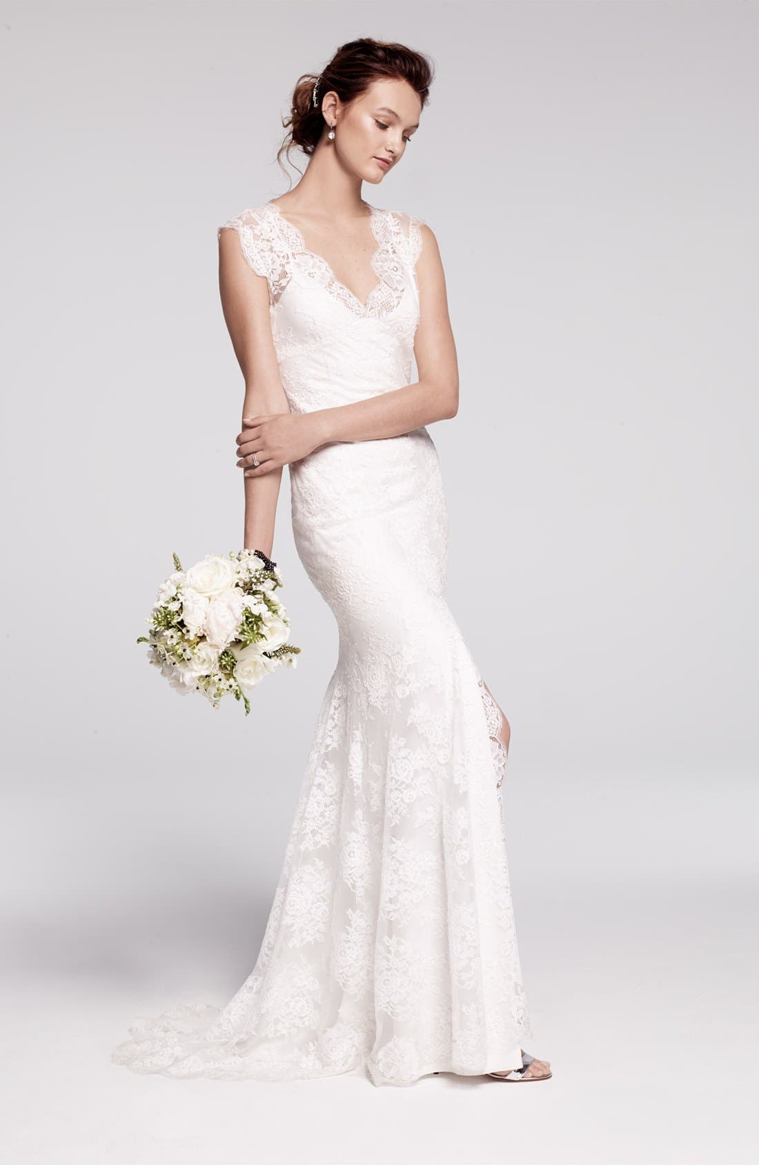 Alternate Image 3  - BLISS Monique Lhuillier Chantilly Lace Open Back Wedding Dress (In Stores Only)