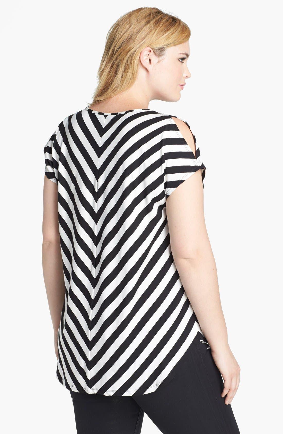 Alternate Image 2  - Evans Chevron Stripe Top (Plus Size)