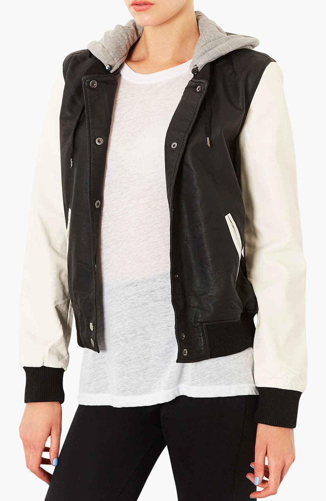 Main Image - Topshop Faux Leather Bomber Jacket