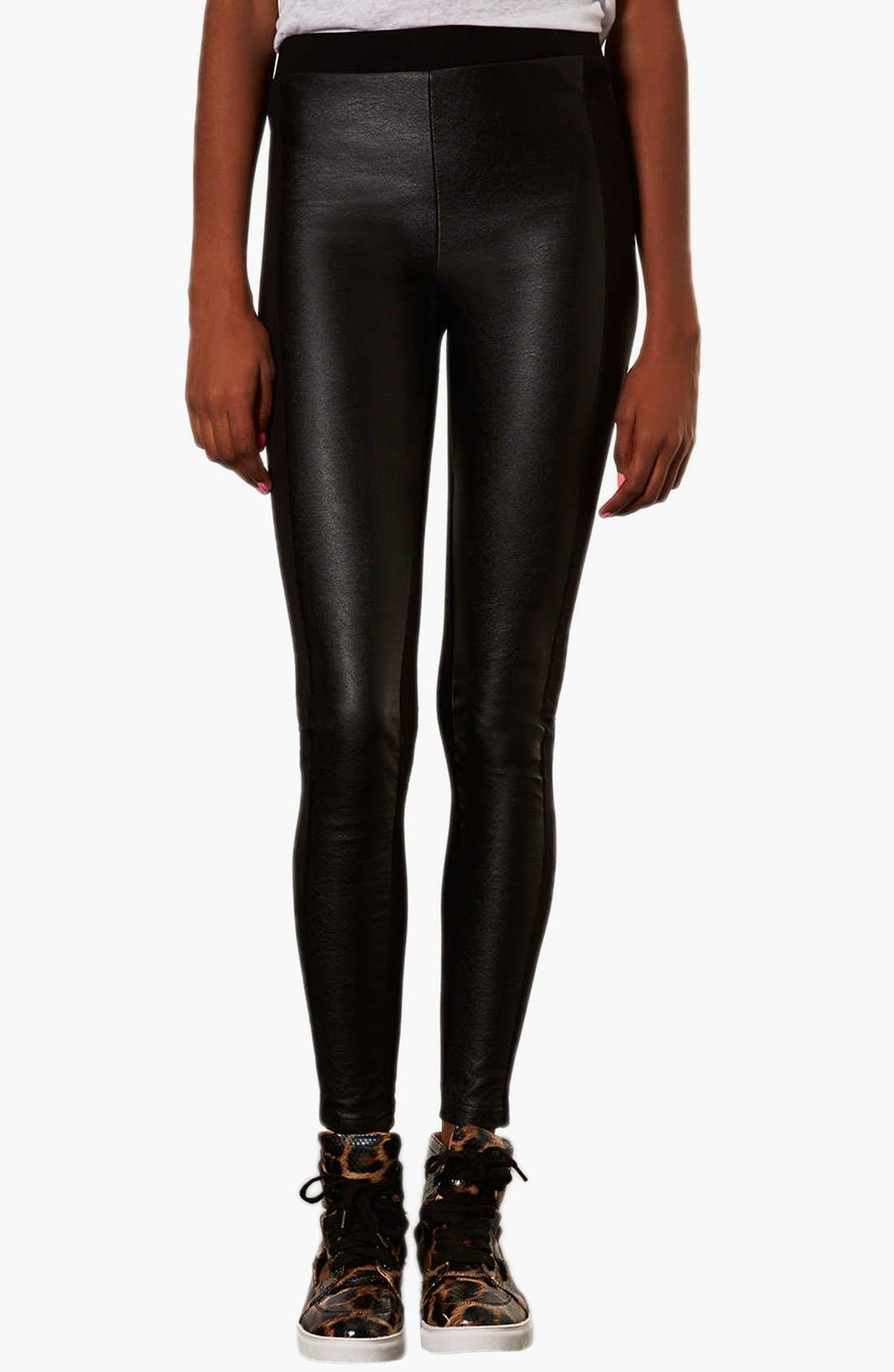 Alternate Image 1 Selected - Topshop Faux Leather Front Leggings
