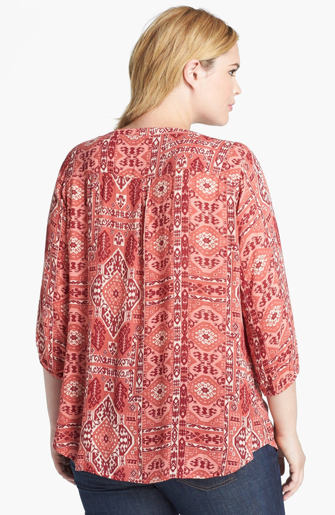 Alternate Image 2  - Lucky Brand 'Ikat Canyon' Top (Plus Size)