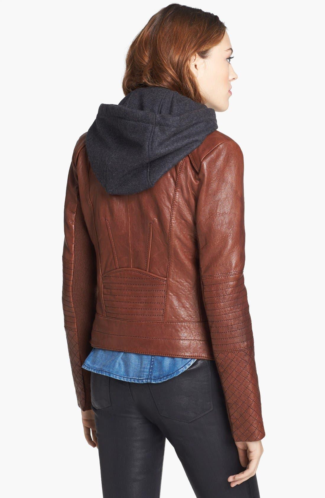 Alternate Image 2  - Andrew Marc 'Shay' Hooded Insert Leather Jacket