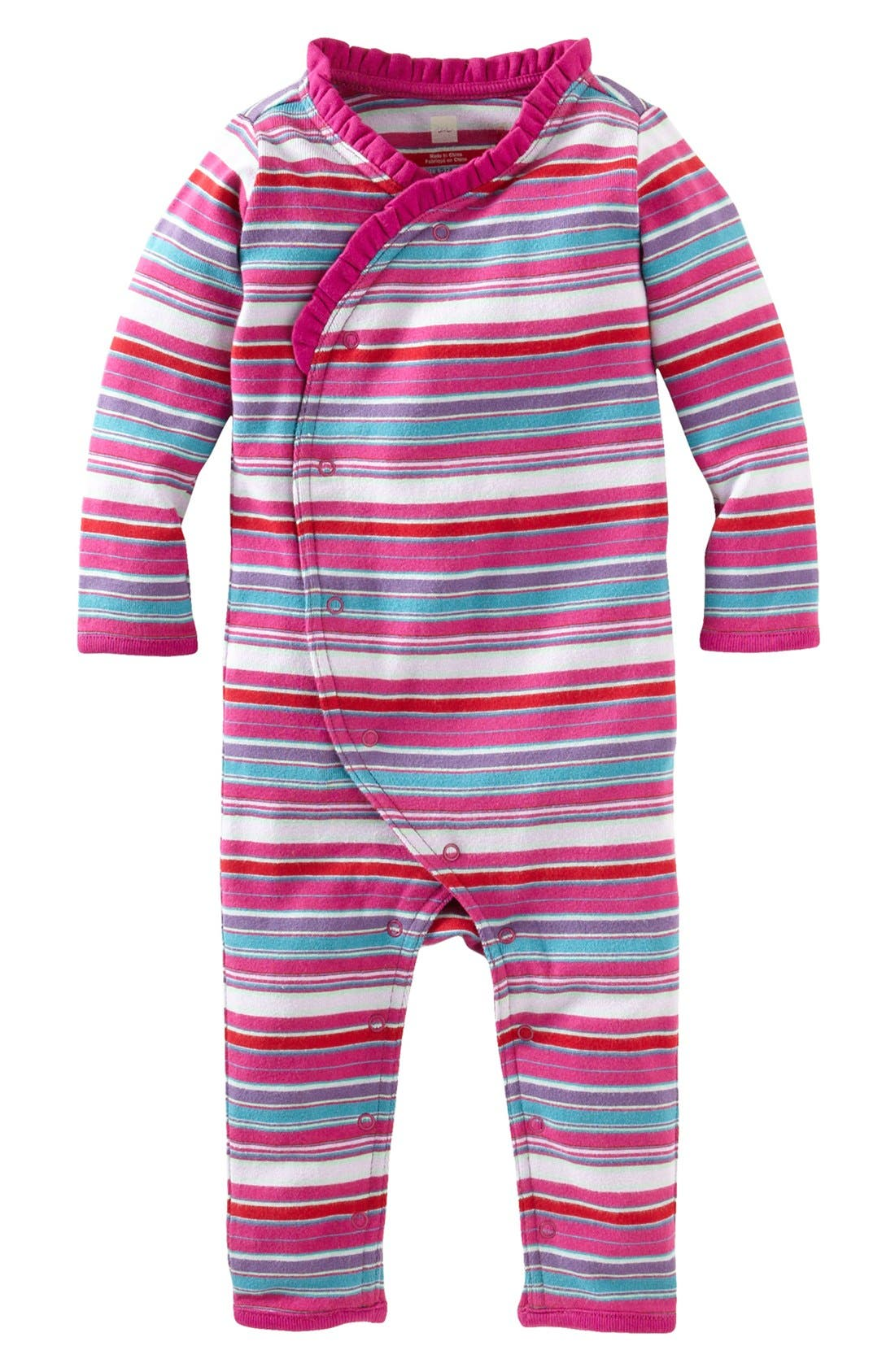 Main Image - Tea Collection 'Lunar Stripe' Romper (Baby Girls)