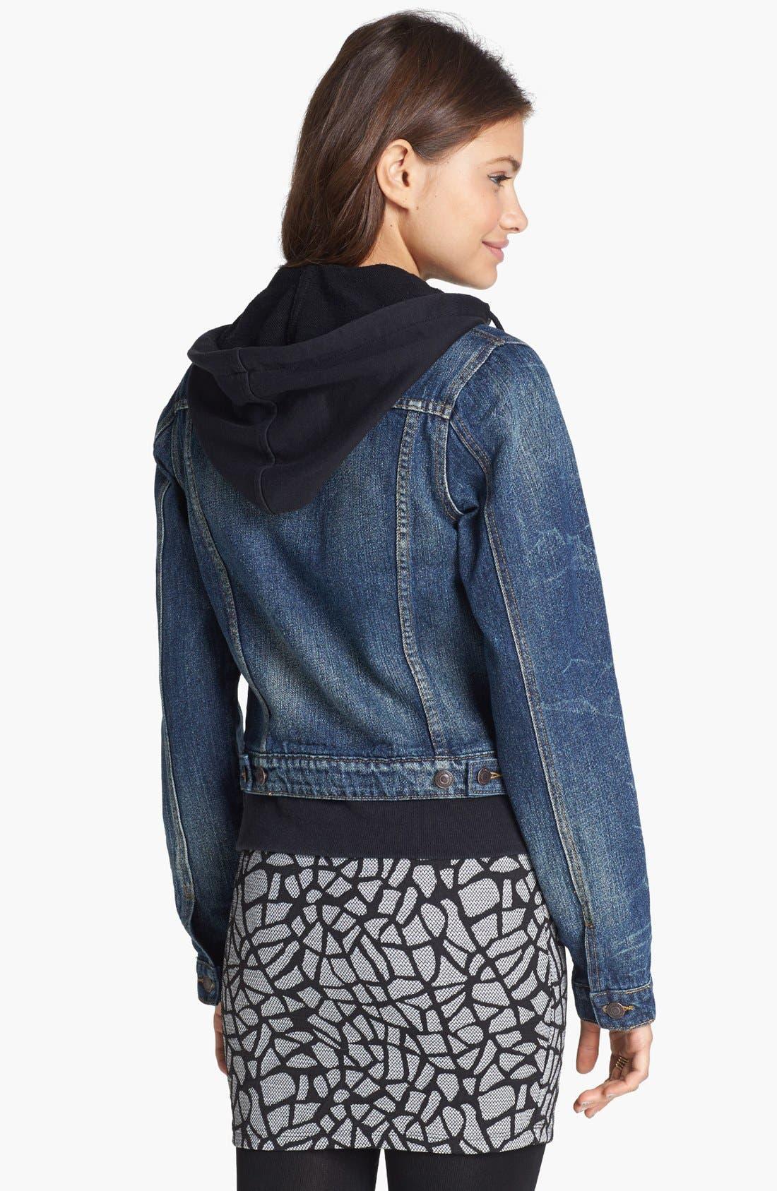 Alternate Image 2  - Thread & Supply Hooded Denim Jacket (Juniors)