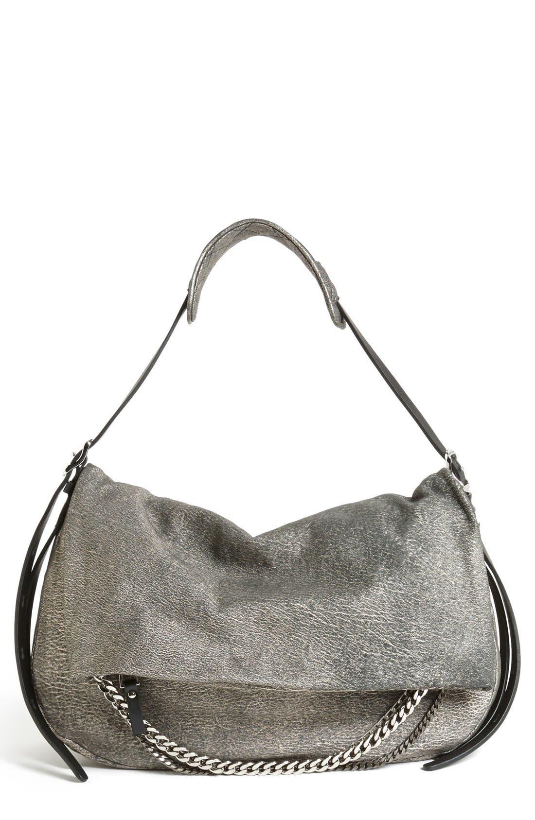 Main Image - Jimmy Choo 'Biker - Large' Metallic Suede Shoulder Bag