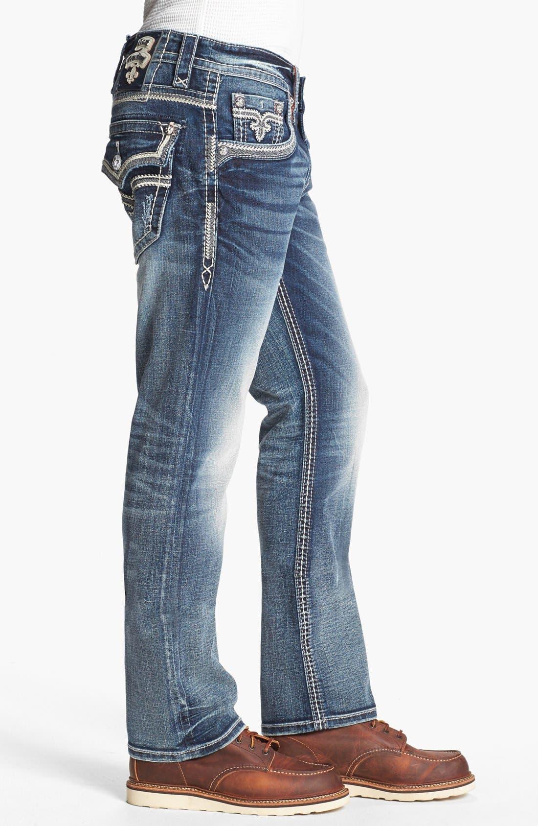 Alternate Image 3  - Rock Revival 'Ben' Straight Leg Jeans (Medium Blue)