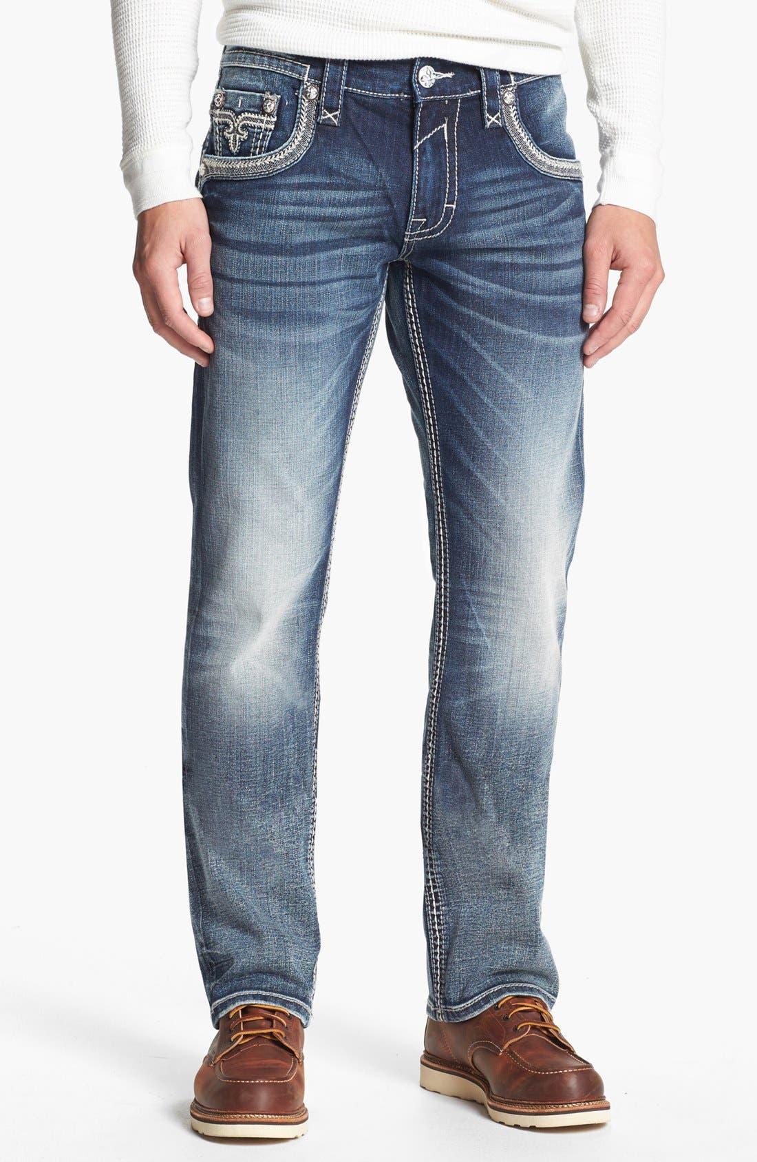 Alternate Image 2  - Rock Revival 'Ben' Straight Leg Jeans (Medium Blue)