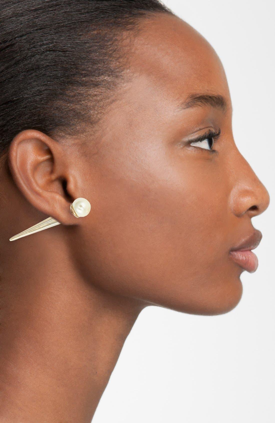 Alternate Image 2  - Tildon 'Pearl Pyramid' Faux Plug Earrings