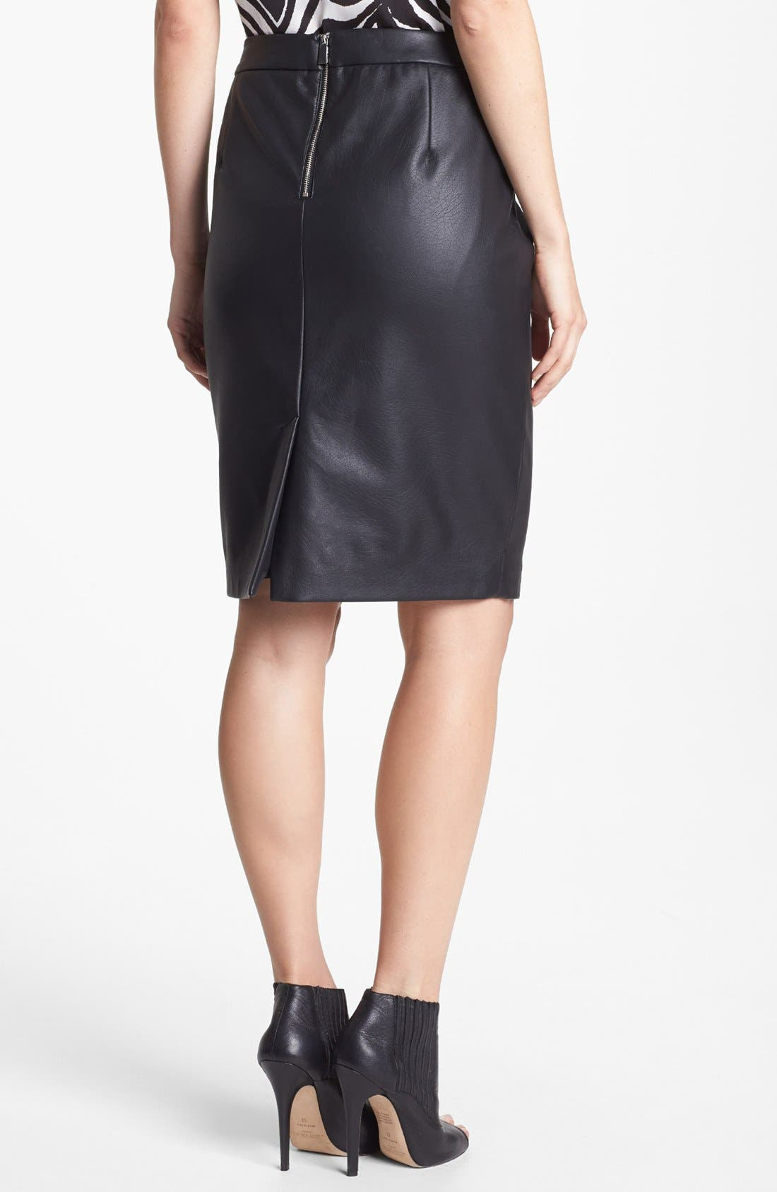 Alternate Image 2  - Vince Camuto Perforated Faux Leather Pencil Skirt