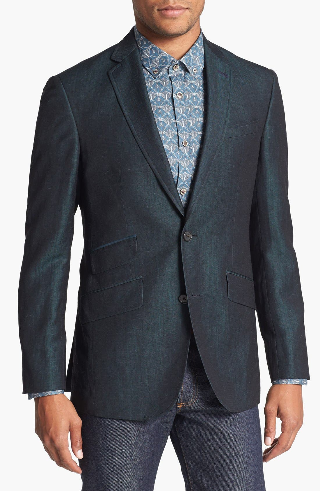 Main Image - Ted Baker London 'Tram' Trim Fit Microcheck Sportcoat