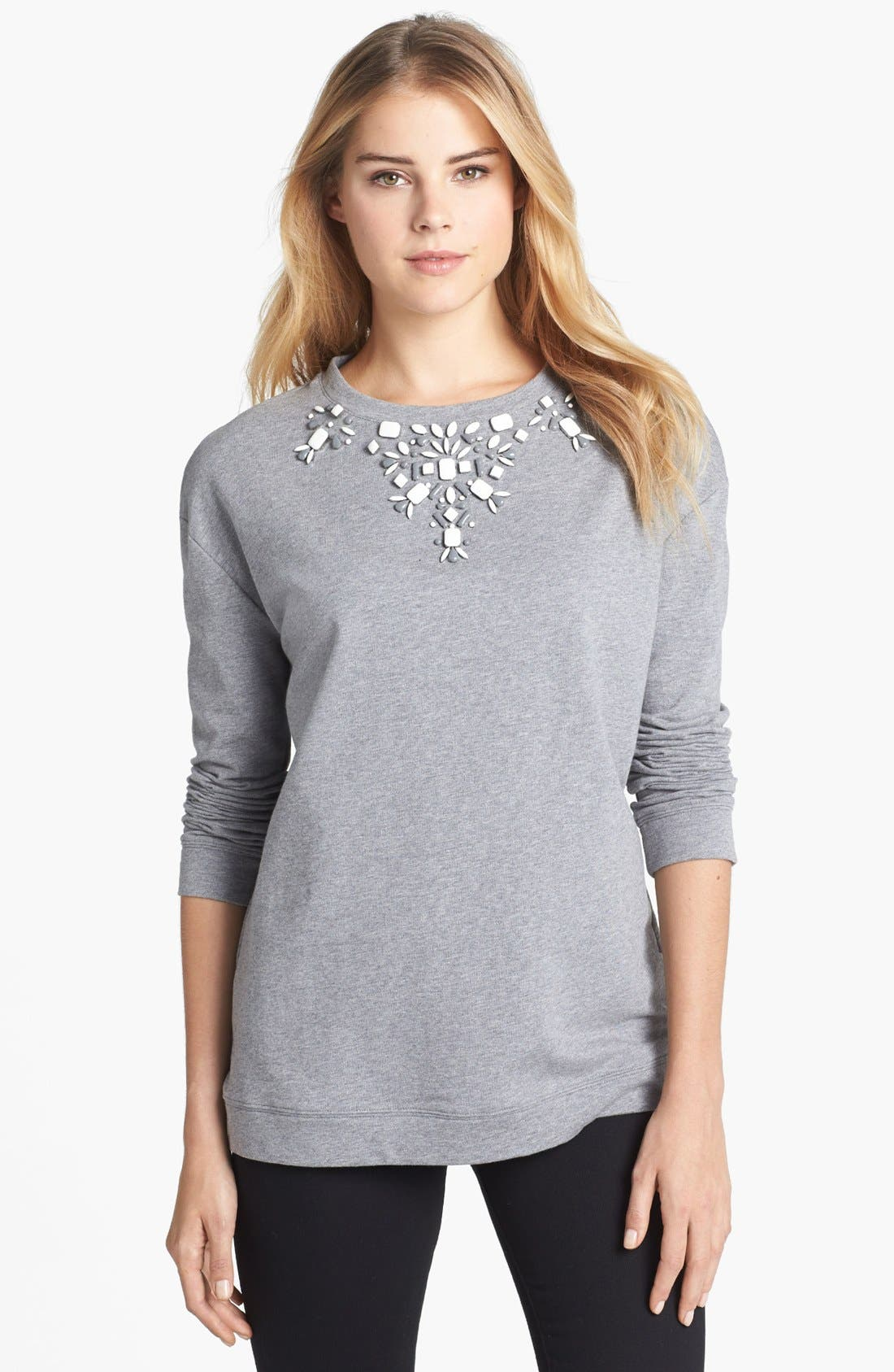 Alternate Image 1 Selected - Two by Vince Camuto Embellished Necklace Cotton Blend Sweatshirt