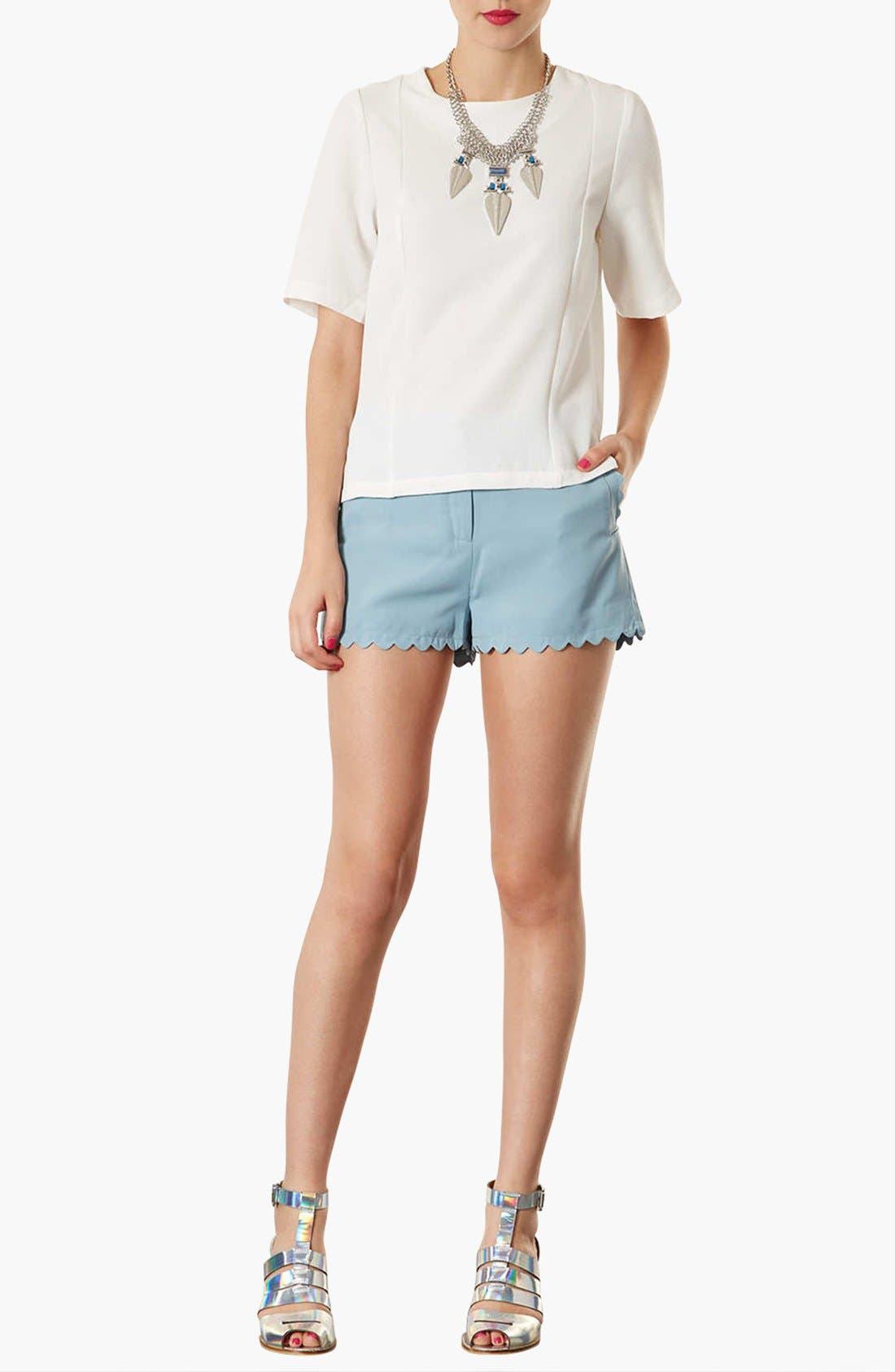 Alternate Image 4  - Topshop Elbow Sleeve Woven Tee