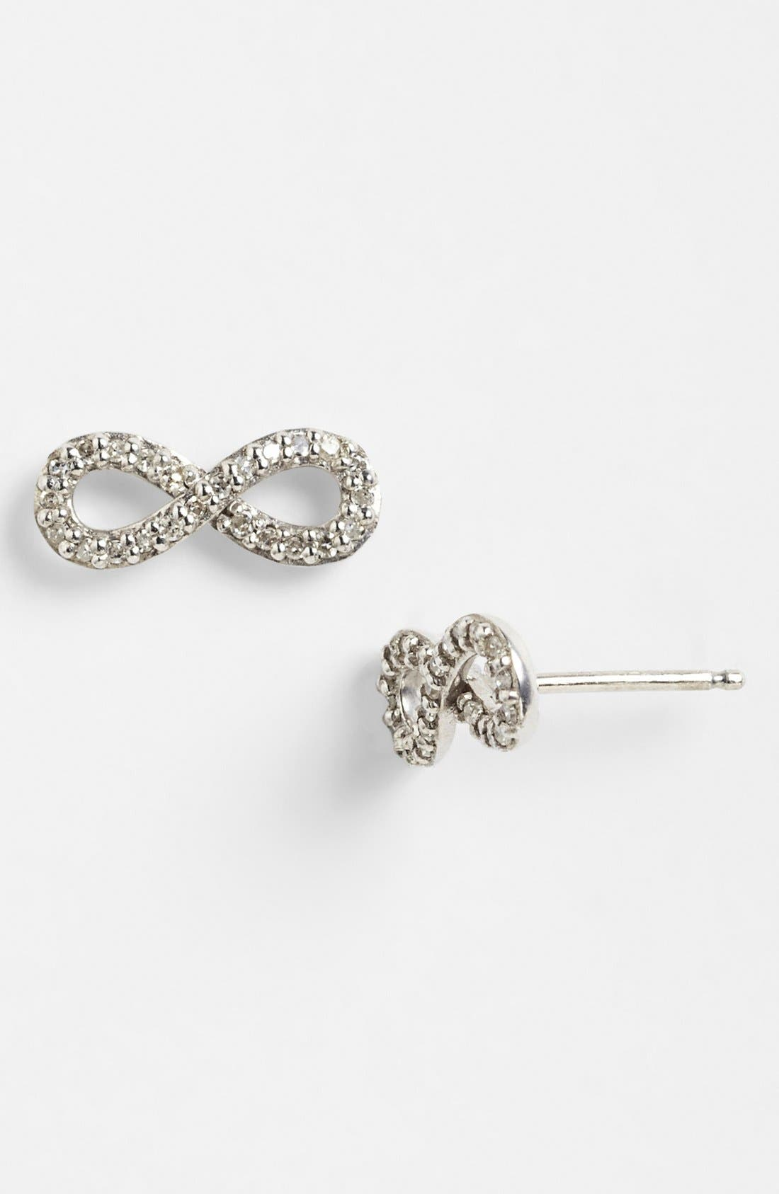 Main Image - Adina Reyter Pavé Diamond Infinity Symbol Stud Earrings (Online Only)
