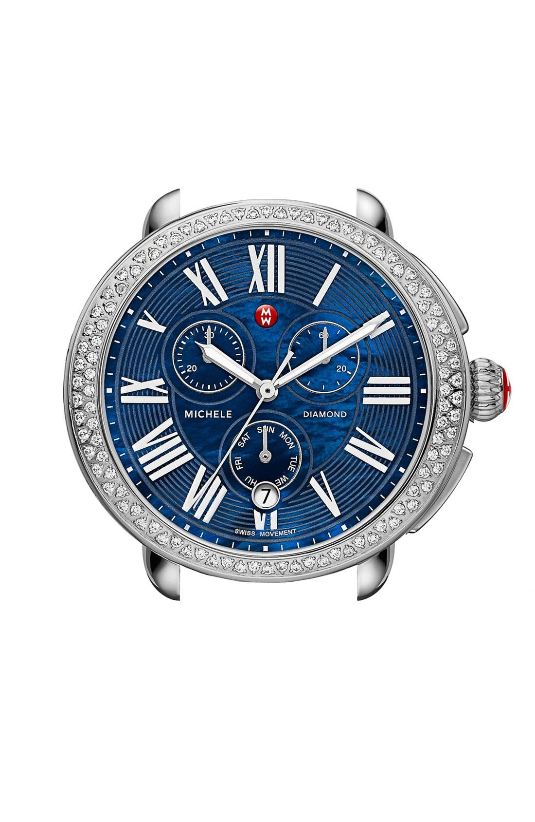Alternate Image 1 Selected - MICHELE Serein Diamond Blue Dial Watch Case, 40mm x 38mm