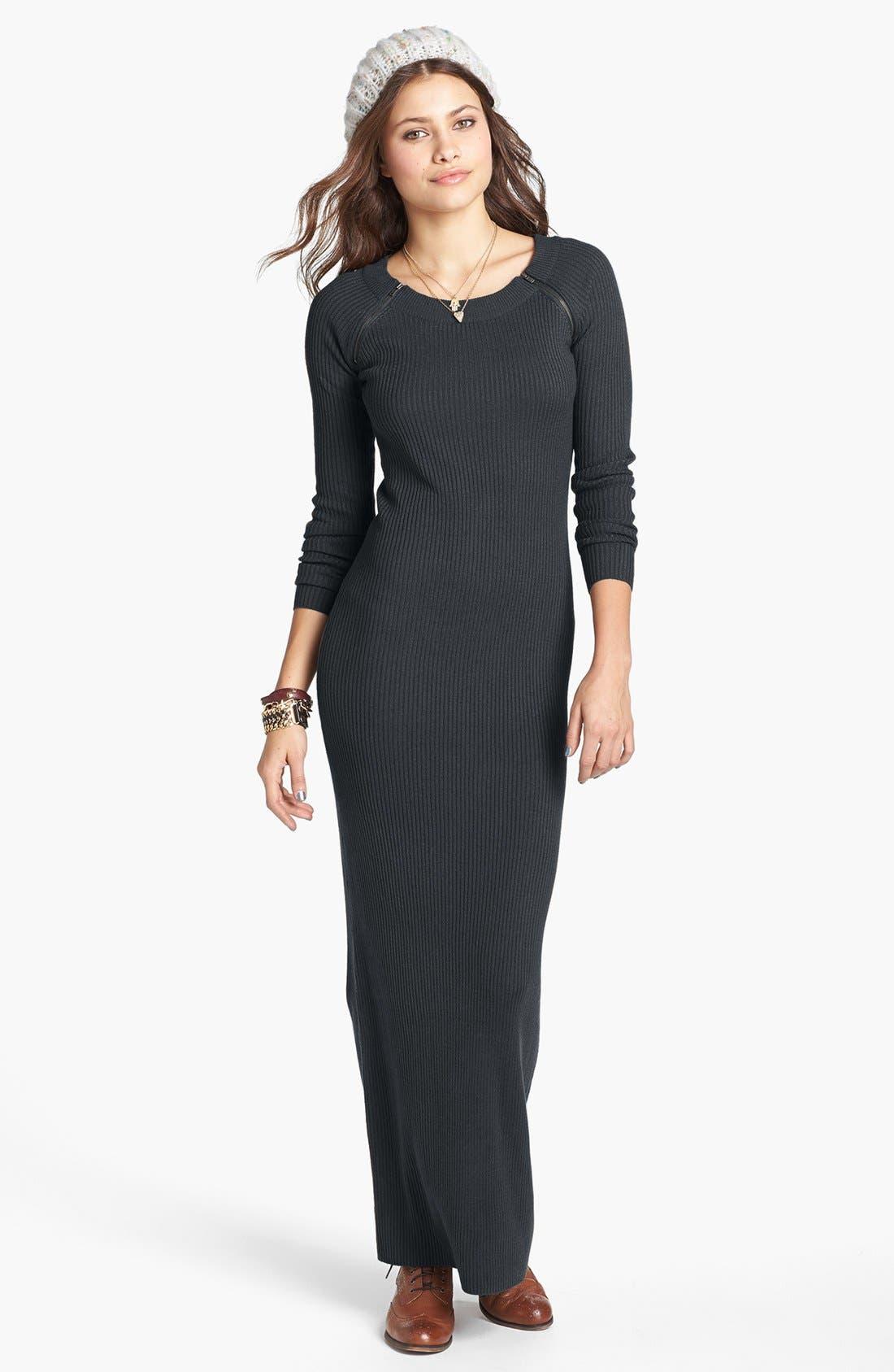 Alternate Image 1 Selected - Rubbish® Zip Detail Ribbed Maxi Dress (Juniors)