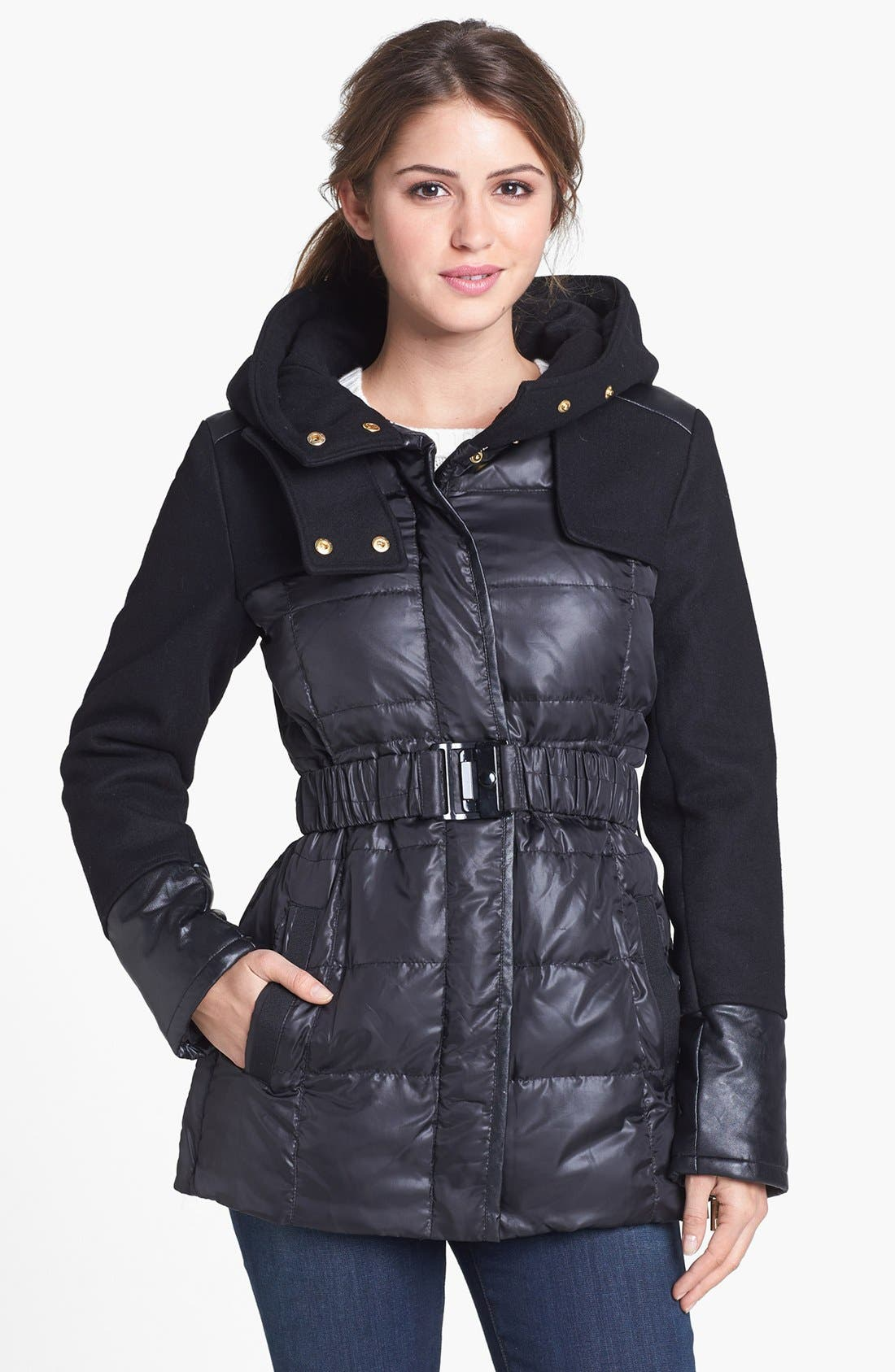 Alternate Image 1 Selected - Kenneth Cole New York Quilted & Wool Blend Hooded Jacket (Online Only)