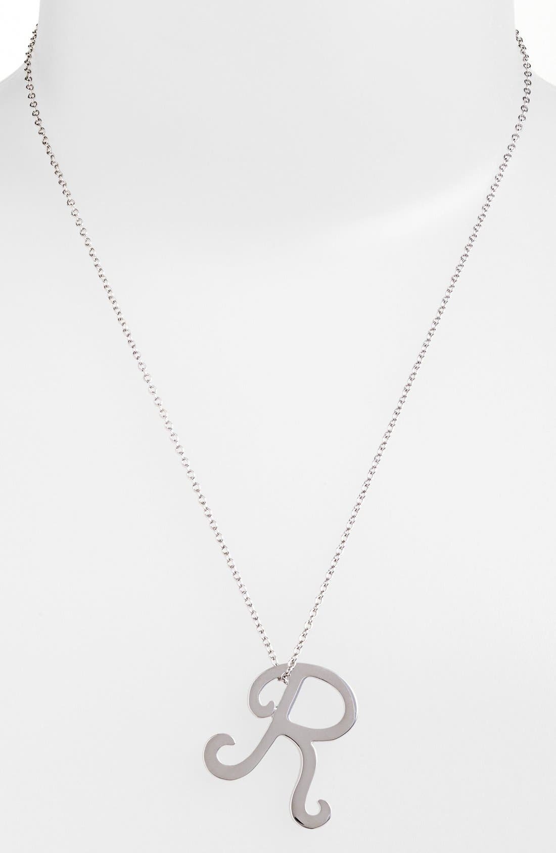 Alternate Image 2  - Ariella Collection Silver Scroll Initial Pendant Necklace
