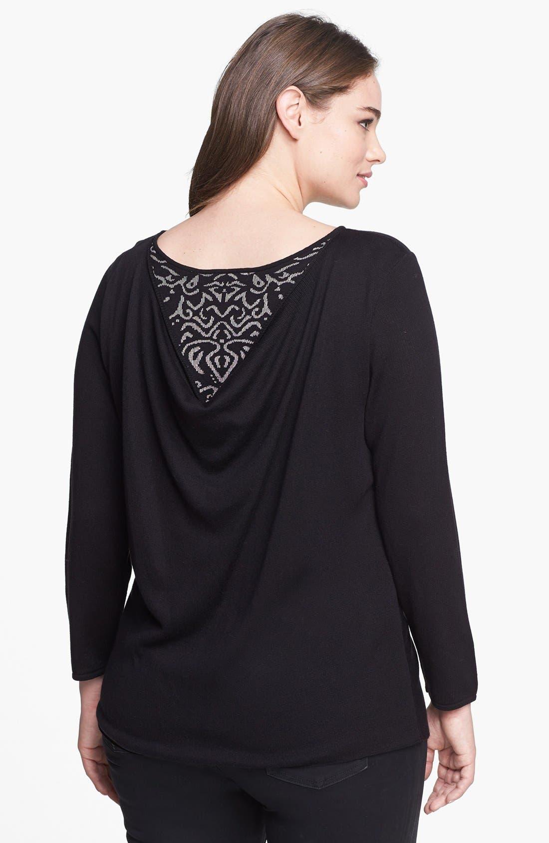 Alternate Image 2  - NIC+ZOE Back Drape Sweater (Plus Size)
