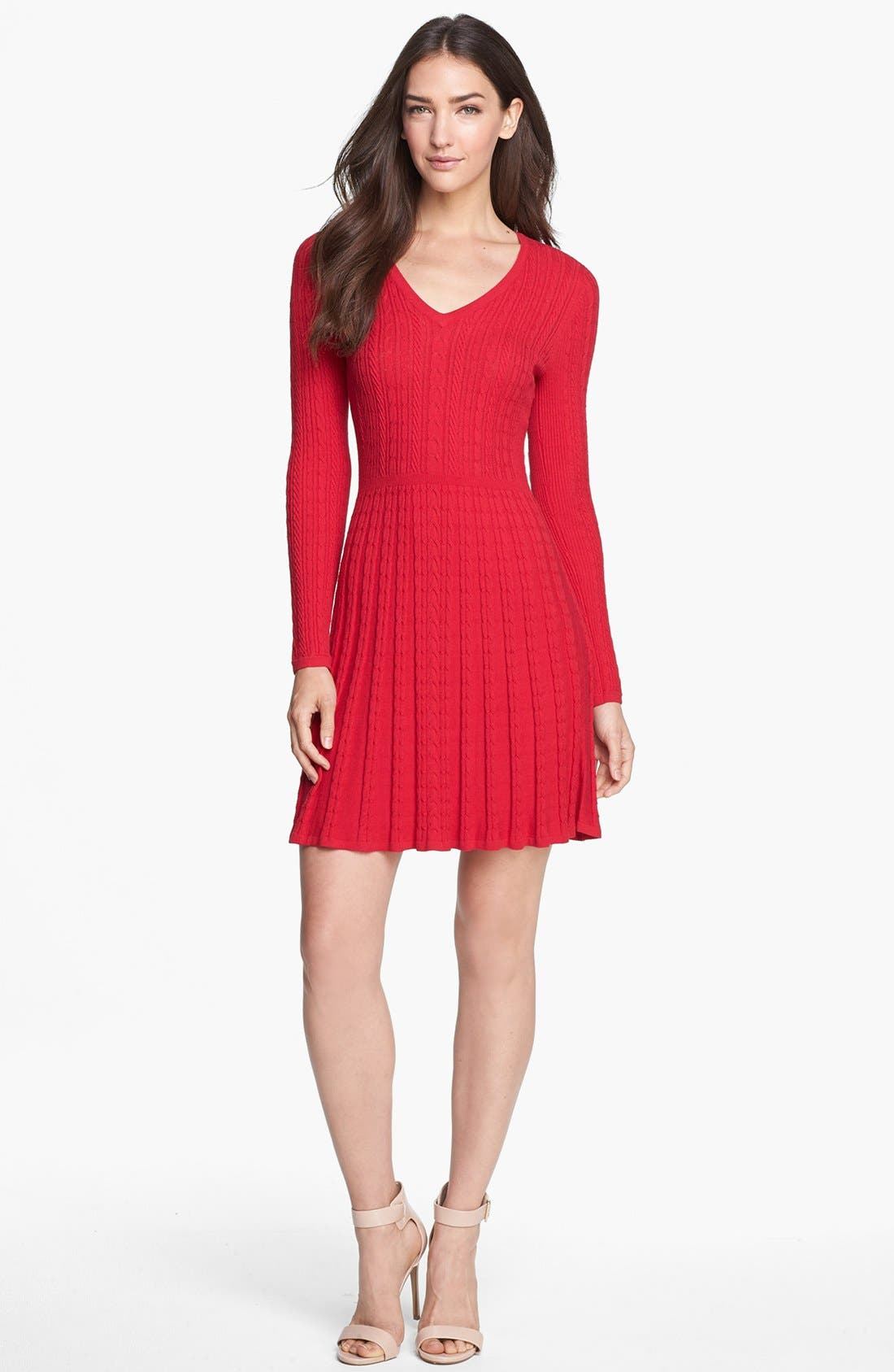 Main Image - BCBGMAXAZRIA Cable Knit Fit & Flare Sweater Dress
